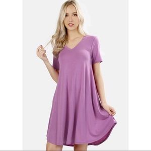 Mauve V Neck T Shirt Dress With Pockets. XL.